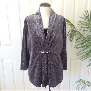 Notations Large Gray Black Layer Sparkle 3/4 Top